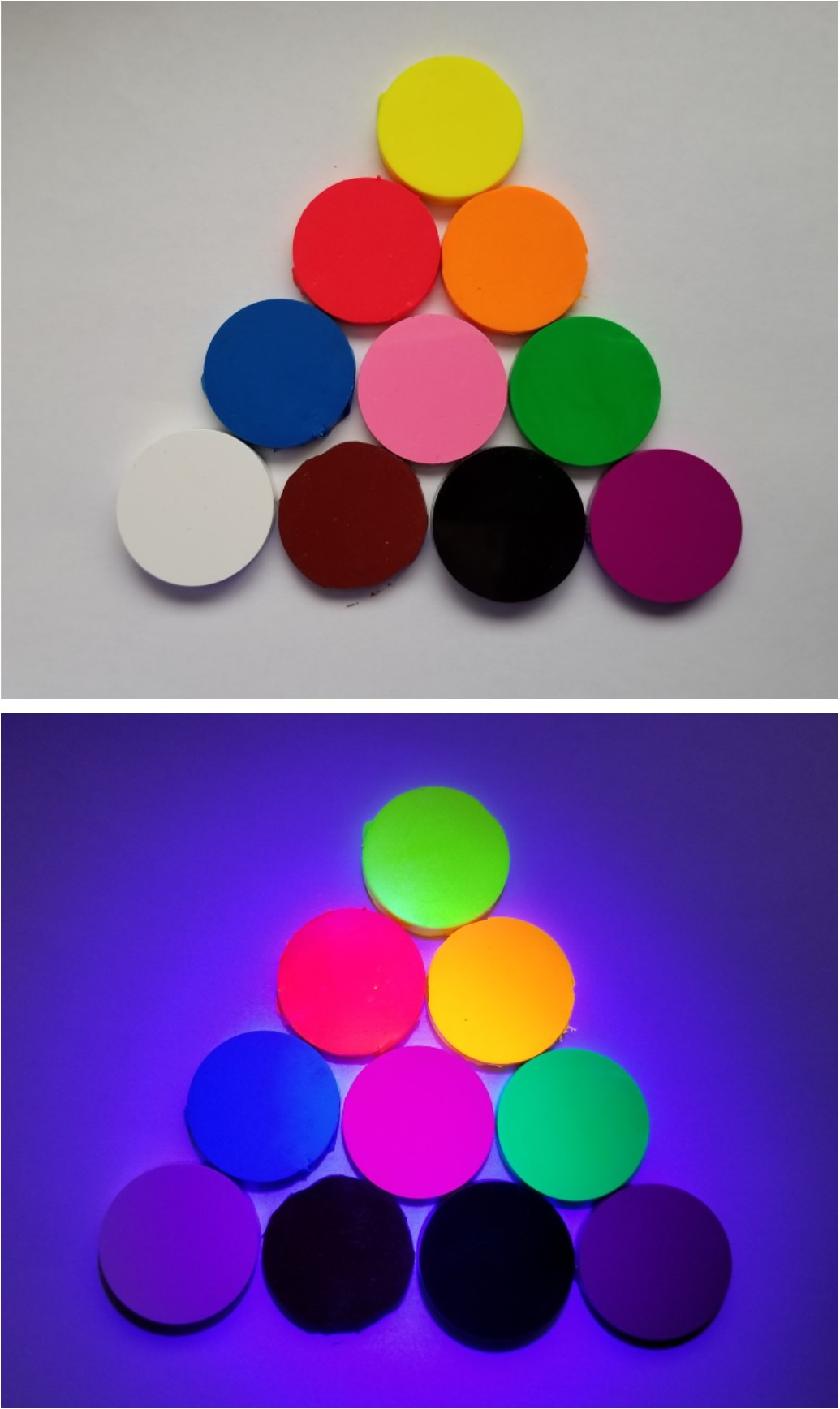 Visible Implant Elastomer in ambient light and fluoresced